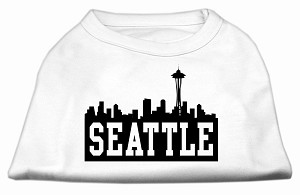 Seattle Skyline Screen Print Shirt White XS (8)
