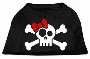 Skull Crossbone Bow Screen Print Shirt Black Lg (14)