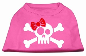 Skull Crossbone Bow Screen Print Shirt Bright Pink Sm (10)
