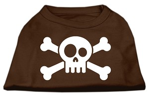 Skull Crossbone Screen Print Shirt Brown XS (8)