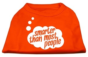 Smarter then Most People Screen Printed Dog Shirt Orange XXL (18)
