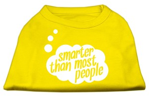 Smarter then Most People Screen Printed Dog Shirt Yellow Lg (14)