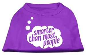 Smarter then Most People Screen Printed Dog Shirt Purple Sm (10)