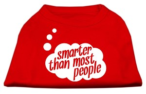 Smarter then Most People Screen Printed Dog Shirt  Red Sm (10)
