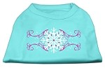 Pink Snowflake Swirls Screenprint Shirts Aqua XS