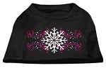 Pink Snowflake Swirls Screenprint Shirts Black XS