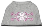 Pink Snowflake Swirls Screenprint Shirts Grey XS