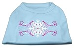 Pink Snowflake Swirls Screenprint Shirts Baby Blue XS