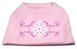 Pink Snowflake Swirls Screenprint Shirts Light Pink XS