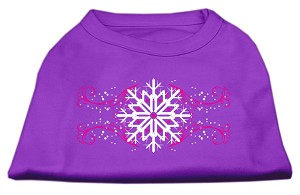 Pink Snowflake Swirls Screenprint Shirts Purple XS (8)