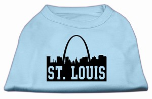 St Louis Skyline Screen Print Shirt Baby Blue Lg