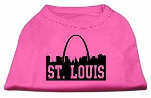 St Louis Skyline Screen Print Shirt Bright Pink XXXL (20)