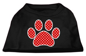 Red Swiss Dot Paw Screen Print Shirt Black XL (16)