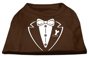 Tuxedo Screen Print Shirt Brown Sm (10)
