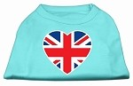 British Flag Heart Screen Print Shirt Aqua XS