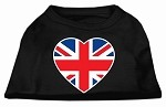 British Flag Heart Screen Print Shirt Black XS