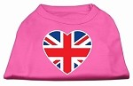 British Flag Heart Screen Print Shirt Bright Pink XS