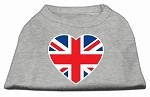 British Flag Heart Screen Print Shirt Grey XS