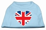 British Flag Heart Screen Print Shirt Baby Blue XS
