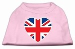 British Flag Heart Screen Print Shirt Light Pink XS