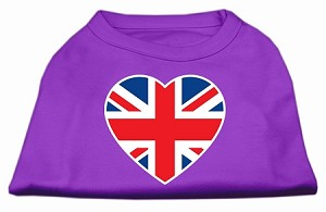 British Flag Heart Screen Print Shirt Purple XS (8)