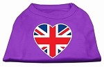 British Flag Heart Screen Print Shirt Purple XS