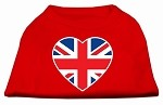 British Flag Heart Screen Print Shirt Red XS