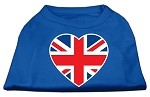 British Flag Heart Screen Print Shirt Blue XS