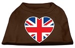 British Flag Heart Screen Print Shirt Brown XS