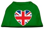 British Flag Heart Screen Print Shirt Green XS