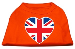 British Flag Heart Screen Print Shirt Orange XXL (18)