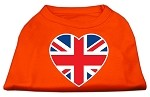 British Flag Heart Screen Print Shirt Orange XS