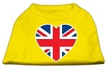 British Flag Heart Screen Print Shirt Yellow XS