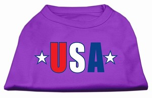 USA Star Screen Print Shirt Purple XL (16)