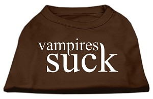 Vampires Suck Screen Print Shirt Brown XS (8)