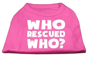Who Rescued Who Screen Print Shirt Bright Pink Lg (14)
