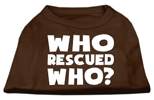 Who Rescued Who Screen Print Shirt Brown Sm (10)