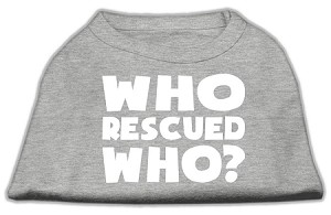 Who Rescued Who Screen Print Shirt Grey XL (16)