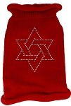 Star of David Rhinestone Knit Pet Sweater XS Red