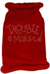 Trouble Maker Rhinestone Knit Pet Sweater MD Red