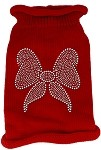 Bow Rhinestone Knit Pet Sweater MD Red