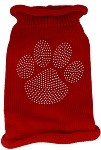 Clear Rhinestone Paw Knit Pet Sweater XS Red