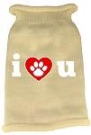 I Love You Screen Print Knit Pet Sweater LG Cream