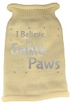 I Believe in Santa Paws Screen Print Knit Pet Sweater MD Cream
