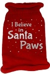 I Believe in Santa Paws Screen Print Knit Pet Sweater LG Red