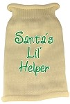 Santas Lil Helper Screen Print Knit Pet Sweater XS Cream