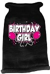 Birthday Girl Screen Print Knit Pet Sweater MD Black