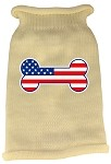 Bone Flag USA Screen Print Knit Pet Sweater XL Cream