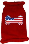 Bone Flag USA Screen Print Knit Pet Sweater SM Red