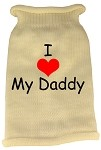 I Heart Daddy Screen Print Knit Pet Sweater LG Cream